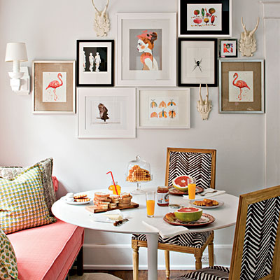 pink and black breakfast nook