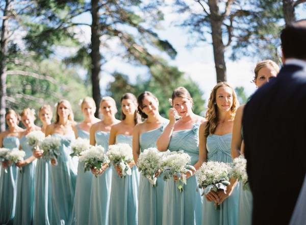 blue chiffon bridesmaid gowns