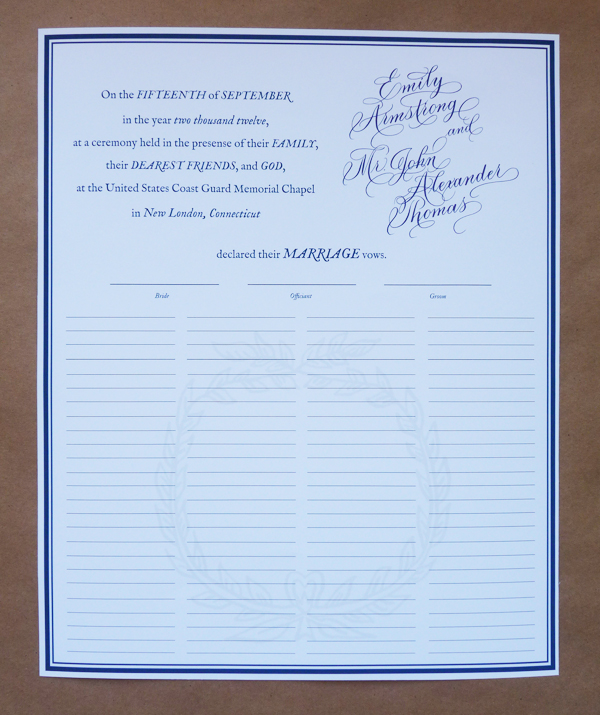 custom quaker marriage certificate