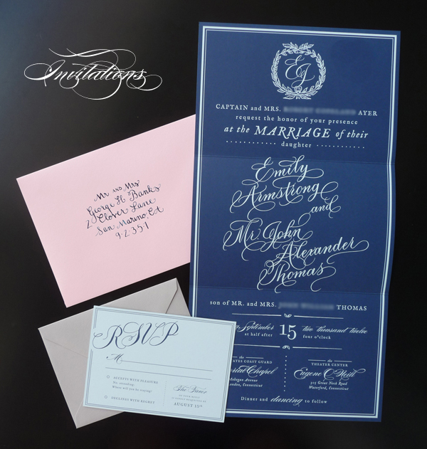Southern wedding - calligraphy invitation suite