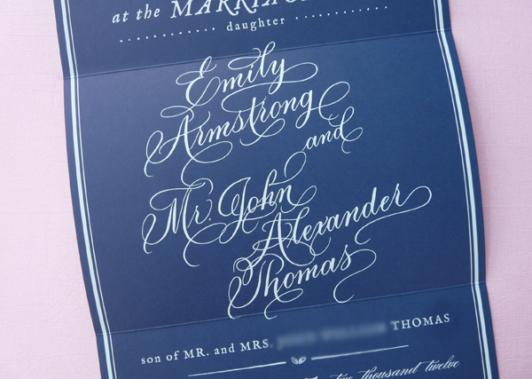 Southern wedding calligraphy invitation Em for Marvelous