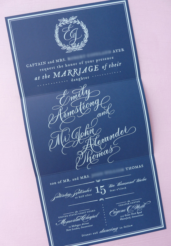 Southern wedding - calligraphy wedding invitation