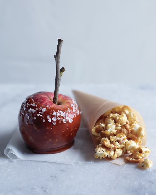 caramel apples with sea salt