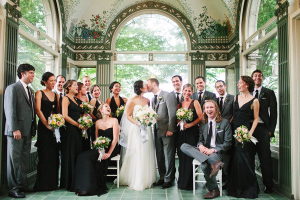 gray and black bridal party