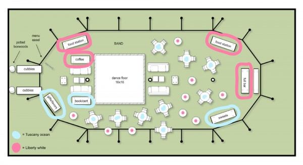 Final Reception Tent Arrangement with Linens