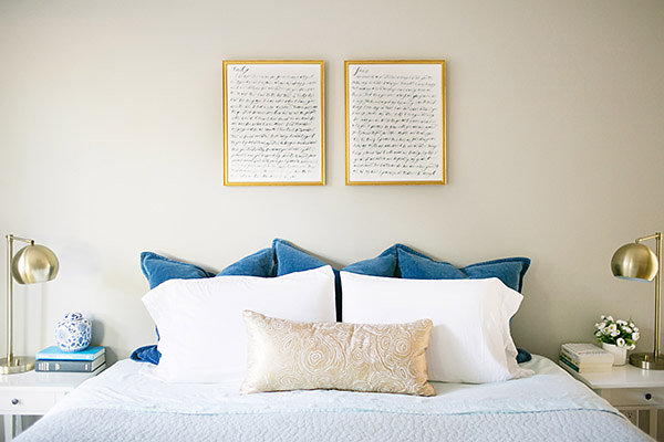For The Project, We Hung Two Large (16×20) Prints Of Our Wedding Vows Over  Our Bed. Simply Jessica Marie Did The Watercoloring, And I Absolutely LOVE  How ...