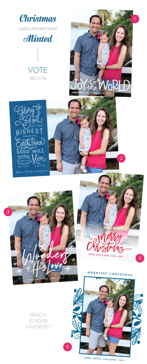 Minted Christmas card options